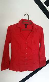 💕 Red longsleeves polo / blouse / top