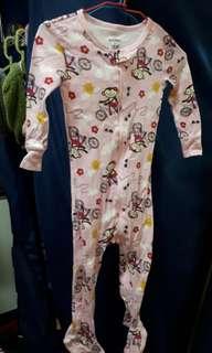 OLD NAVY 粉色腳踏車小猴 連身睡衣