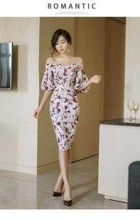 #039 💋Off Shoulder Floral Dress