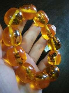 仿琥珀手鍊/珠子裡有蜜蜂