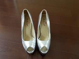 時尚銀魚口超高跟鞋