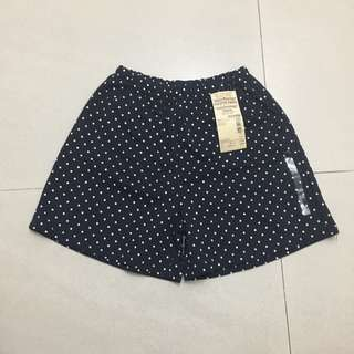 Muji Organic Cotton Mix Culotte Pants Kids Navy Pattern 130cm