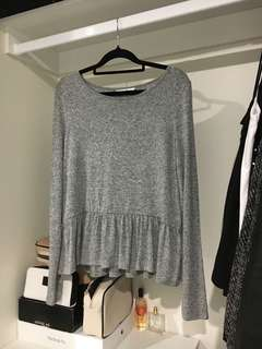 Supre - Long Sleeve Grey Peplum Sweater Top SIZE M