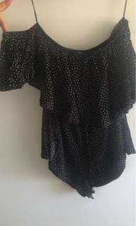 Off The shoulder playsuit supre black and white dot
