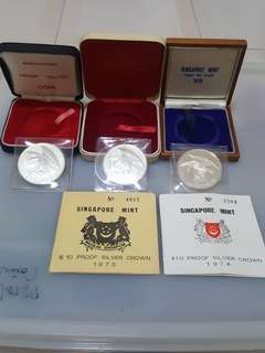 1972, 1973 & 1974 SINGAPORE EAGLE $10 SILVER PROOF SET, UNC..1972 is issued without COA