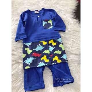 Romper Baju Melayu (blue-dino)