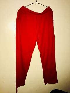 red loose pants