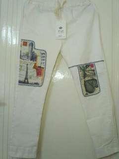 Jeans wanita. Jeans putih bordir