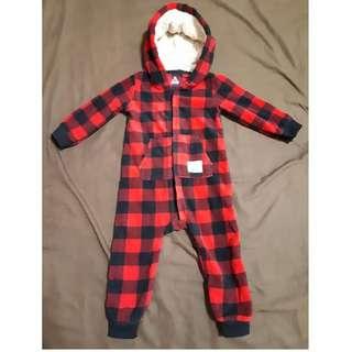 原單卡特搖粒絨羔羊毛內裡熊熊耳朵連帽連身黑紅格子套裝褲裝