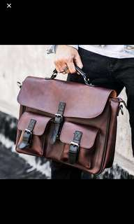 "🚚 ✔️INSTOCK! 3 Ways Rugged Brown Laptop Briefcase Bag - Mens Laptop bag - Faux Leather Backpack - 15.6"" laptop bag"