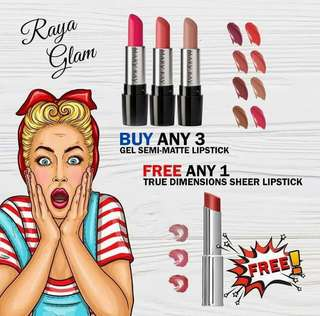 FREE 1 Lipstick - Gel Semi-Matt Lipstick - Buy 3 FREE 1 True Dimension Lipstick