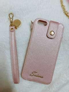 玫瑰金iPhone 6直立式吊飾手機套