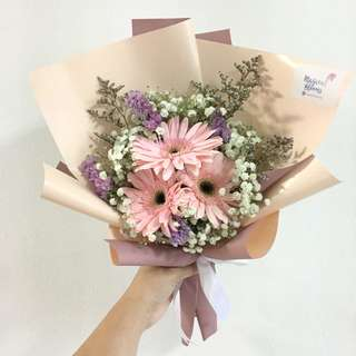 Gerberas / pink daisy with baby breath and caspia / birthday bouquet