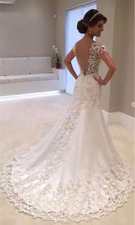 Wedding dress white backless lace mermaid dress