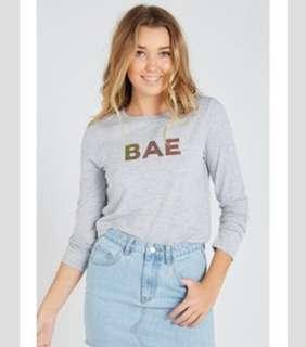 """Supre - Crop Top Grey long sleeve """"BAE"""" tee"""