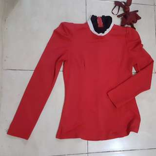 Turtle neck high neck red