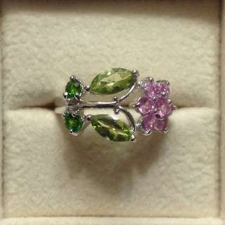 Pink Sapphire, Peridot and Chrome Diopside Ring