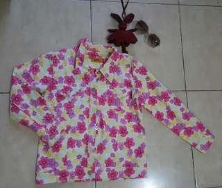 Jaket jeans flowers jacket