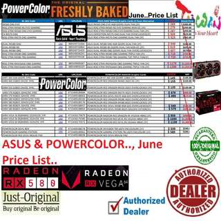 "ASUS Rx 580..... to Powercolor Ex 580...... GPU Price List...   Interested...!! ""Start Order Today or Walk in Direct for Cheaper Offer rate"" (June 2018 #price list ) # PRICE LIST# ""From $145-$1299..."" ( Thomson Area)"