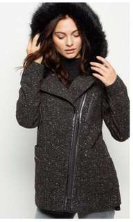 New Look Black Faux Fur Hooded Biker Jacket