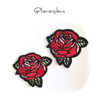 Bn rose Embroidered iron on patches