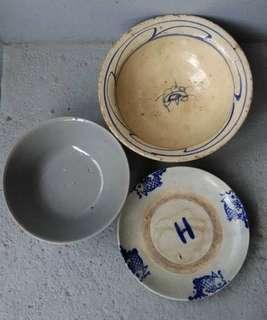 🚚 老台灣青花碗 二碗一碟