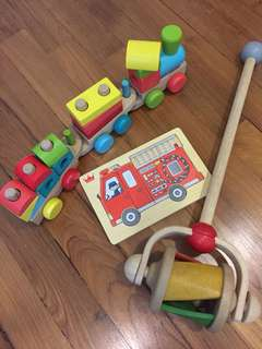 Wooden toys set for toddlers