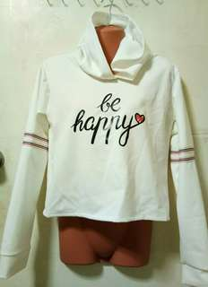 cropped hoodie white