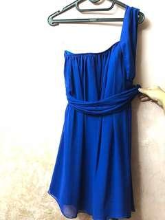 Electric Blue Dress (Kemben One Shoulder)