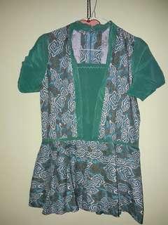 Batik halus hijau tosca mix sutra hasil jahit