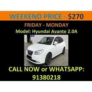 Hyundai Avante 2.0A Weekend Car Rental
