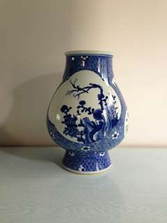 Antique Blue And White Painted Flowers Vase Height 34cm Perfect condition