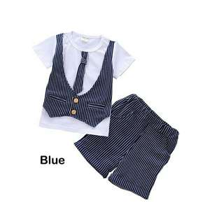 *FREE DELIVERY to WM only / Ready stock* Kids boy wear set each as shown in design/color blue, grey.  Free delivery is applied for this item.