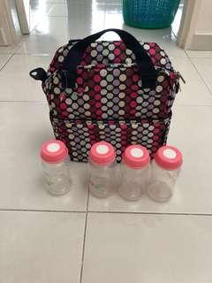 Baby Bottle Carrier Bag with 4 Bottles