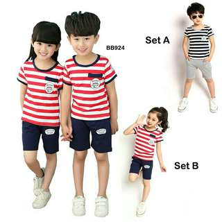 *FREE DELIVERY to WM only / Ready stock* Kids 2pc wear set each as shown in design/color.  Free delivery is applied for this item.