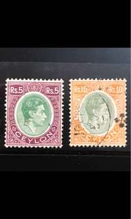 Ceylon king George high value stamps (faults damaged)