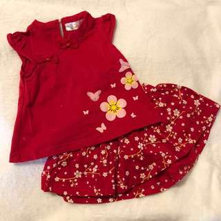Baby dress set in red