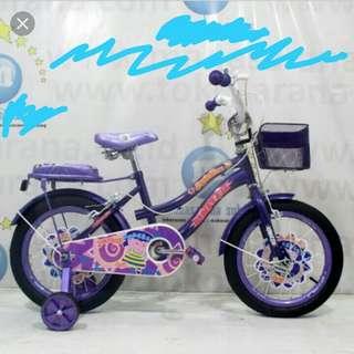 sepeda united warna ungun untuk anak.perempuan ukuran 16 inch