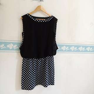 Black Chiffon Dress Polkadot