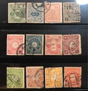 Superb Japan early used stamps lot 12v