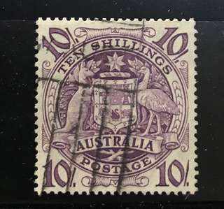 Australia 10 shilling stamp High Value used