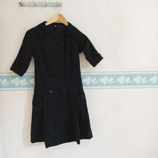 Women Working Black Dress Trench Coat Kantoran