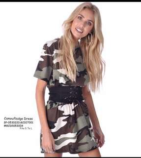 CAMOUFLADGE DRESS  Fits S To L  Price : 390