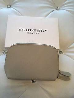 Burberry Beige Beauty Makeup Cosmetic Bag Case Purse Clutch Handbag