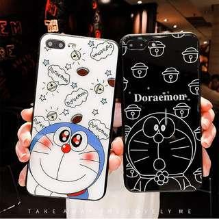Iphone case卡通多拉a夢藍光鏡面軟膠手機殼