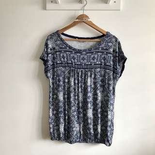 XL Blue Printed Boxy Round Neck pretty blouse top @sunwalker
