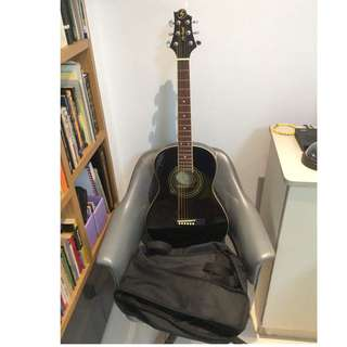 Greg Bennett ST6-1 Black colour with Guitar Bag