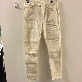 Topshop Petite Jamie Ripped Jeans - Cream