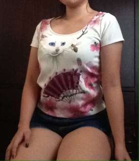 Floral cat blouse