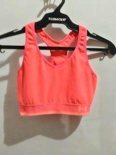 Under Armour neon orange sports bra (S)